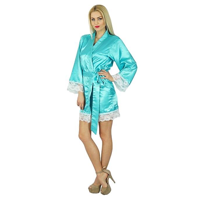 99b666b820 Bimba Women Kimono Sleeve Satin Short Robe Getting Ready Bride Bridesmaid  Lace Robes Coverup Maroon at Amazon Women s Clothing store