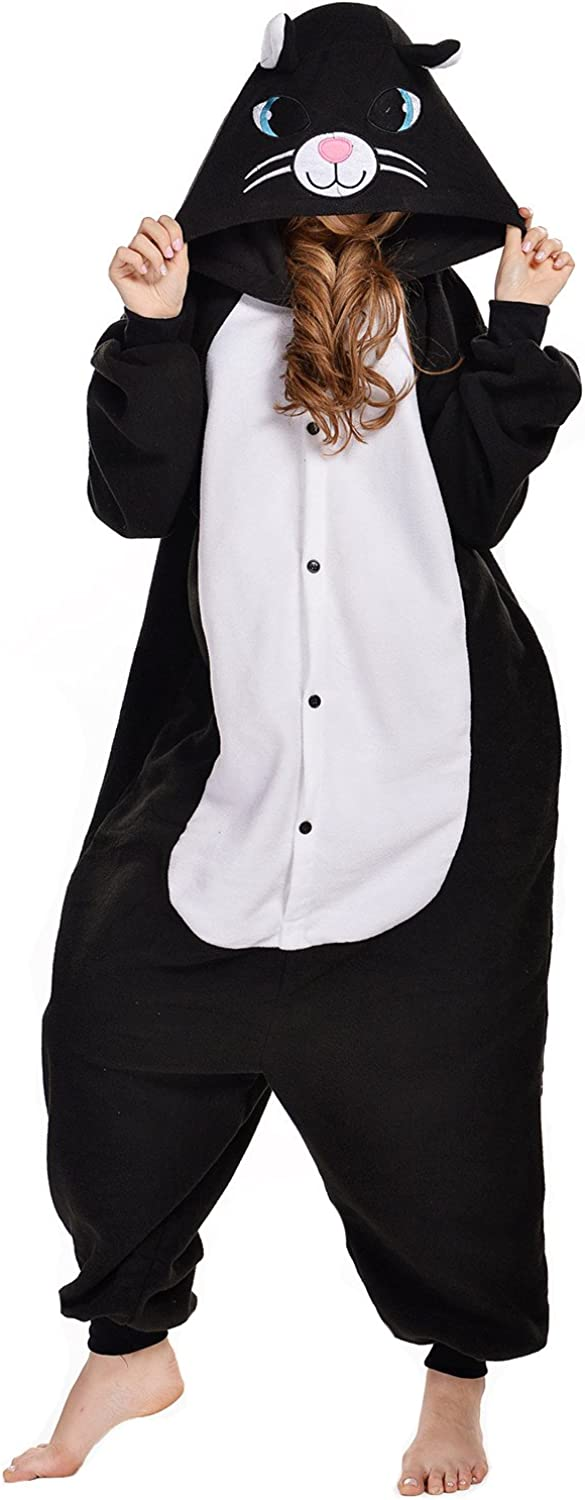 NEWCOSPLAY Adult Unisex Black Cat Onesie Pajamas Costume