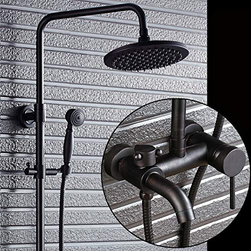(XUEME Bathroom Luxury Shower System Oil Rubbed Bronze Shower Faucet Set Round Rainfall Shower Head + Hand Spray + Tub Tap)