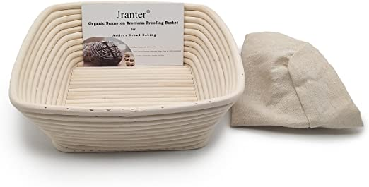 10 inch Oval Banneton Brotform Bread Dough Proofing Rising Rattan Basket with Liner and Dough Blade
