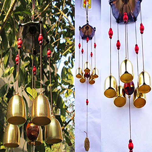 Decor Home Fashions - Antique Copper 5 Bells Pentagon Pavilion Money Drawing Yard Garden Outdoor Living Feng Shui Wind - Chimes Bells Shui Stakes Longeviti Wind Jumping Bell Feng Garden