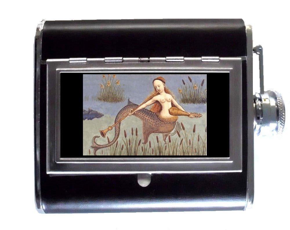 マーメイド美しいクラシックSirenアンティークアート5ozステンレススチール&レザーヒップフラスコと組み込みシガレットケース B00O6H2JAW
