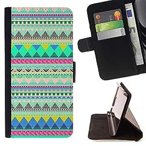- native American Indian pattern green - - Prima caja de la PU billetera de cuero con ranuras para tarjetas, efectivo desmontable correa para l Funny HouseFOR Samsung Galaxy Note 4 IV