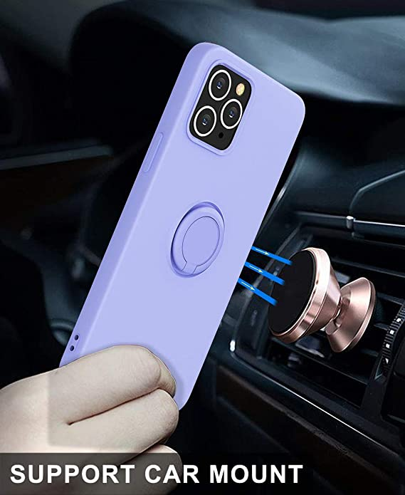 Silicone with 360/°Ring Kickstand Holder abitku Compatible with iPhone 12 Pro Max Case Blue Soft Silk Microfiber Cloth Designed for iPhone 12 Pro Max 6.7inch 2020 Support Magnetic Car Mount