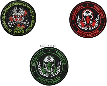 3Inch 4Pcs Brotherhood Essential Workers Embroidered Tactical Hook-Backed Morale Patch
