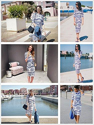 Print Porcelain Blue Floerns Work Dress Business Sheath Pencil Women's 7n7xwqvp