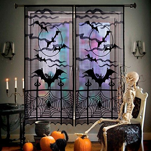 AerWo Black Bats Halloween Lace Window Curtain with 2pcs, 40 by 84 inch, Halloween Spooky Lace Curtain Panel for Halloween Party Window (Curtains Decoration)