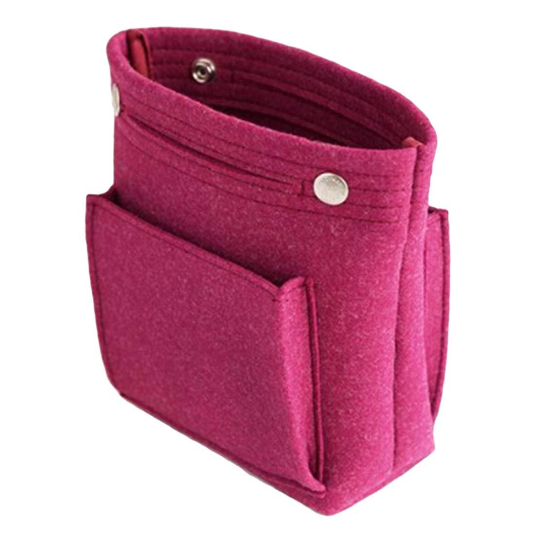 UINKE Portable Felt Purse Insert Makeup Handbag Organizer Travel Cosmetic Bag for Women Girls,Purple