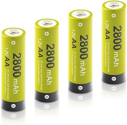 ELZO - Pack 4 Pilas Recargables AA Ni-MH, 1.2V / 2800mAh Baterías Recargables para los Equipos Domésticos con Estuches de Almacenamiento: Amazon.es: Electrónica