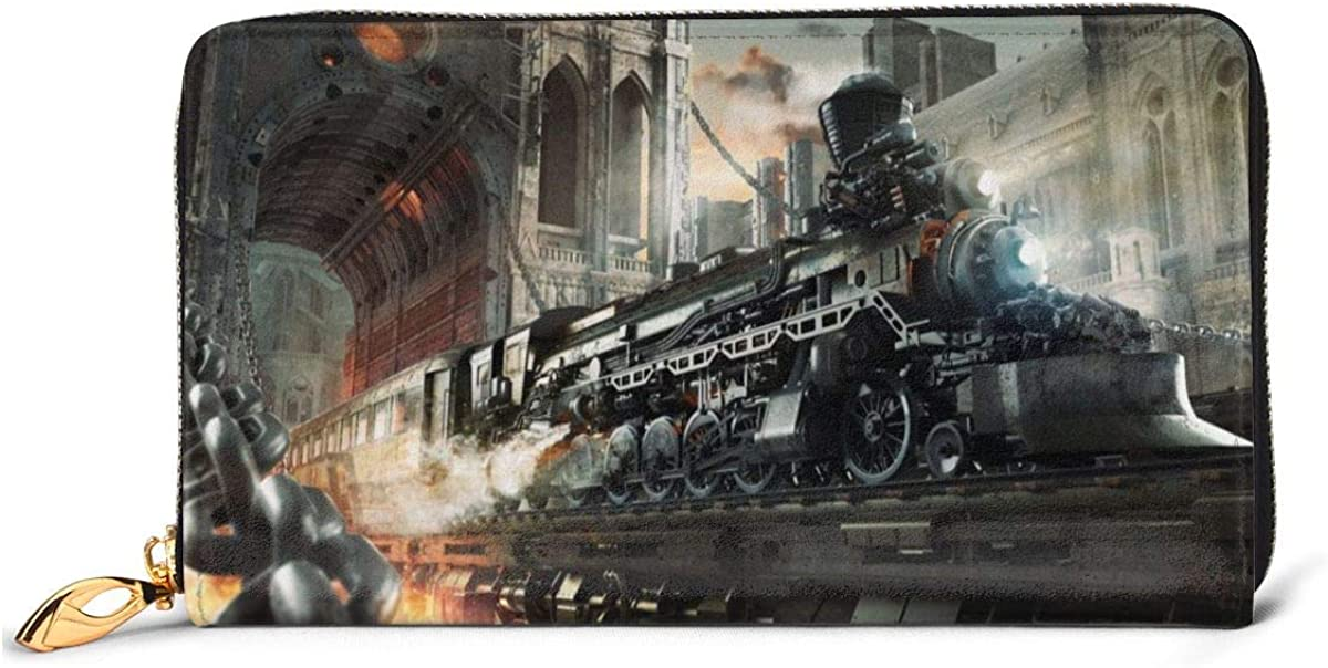 Steampunk Railroad Train Wallets For Men Women Long Leather Checkbook Card Holder Purse Zipper Buckle Elegant Clutch Ladies Coin Purse