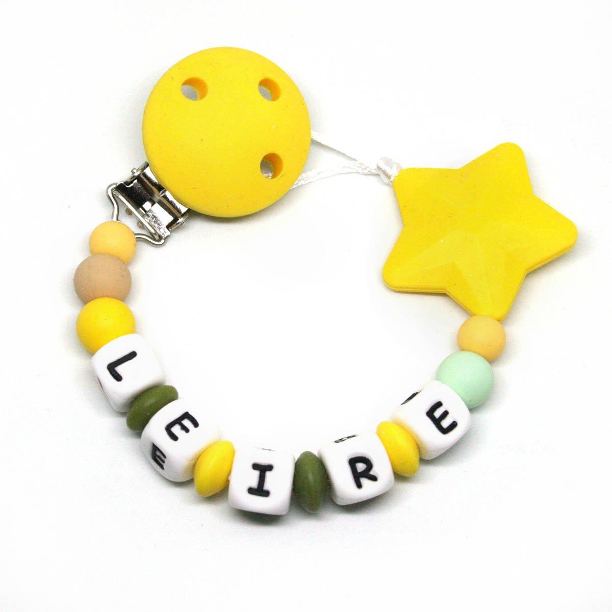 Cadena chupete personalizado silicona Estrella Amarillo ...