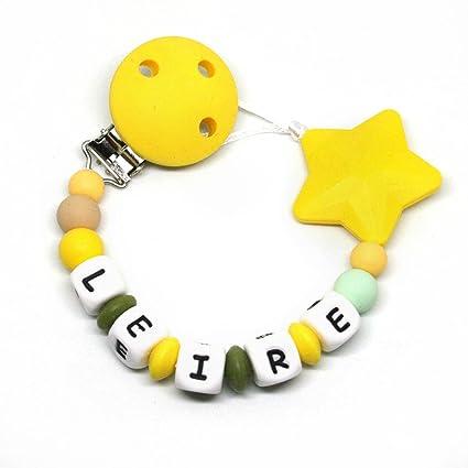 Cadena chupete personalizado silicona Estrella Amarillo, para bebé ...