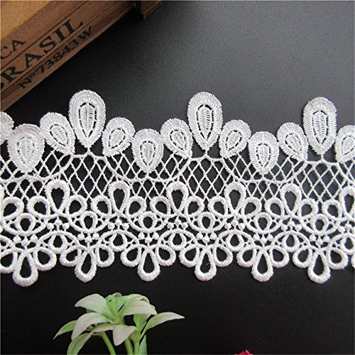 2 Yard Pendant Shape Guipure Picot Hollow Netted Lace Edge Trim Ribbon 8.2 cm Width Vintage Style White Edging Trimmings Fabric Embroidered Applique Sewing Craft Wedding Bridal Dress DIY Party Decor