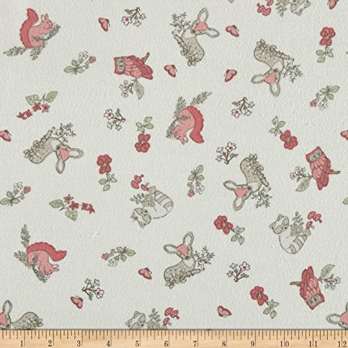 Timeless Treasures Flannel Doe A Deer Tossed Woodland Animals Cream Fabric By The (Animal Print Flannel)