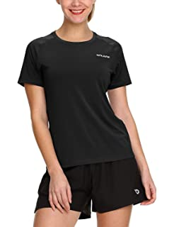 18662f9f0bfc Baleaf Women's Running Shirts Workout Short Sleeve Quick Dry Tops Round Neck
