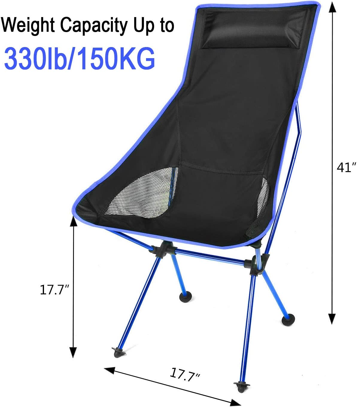 BBQ Portable Camp Chair with Headrest and Carry Bag Camping Chairs for Outdoor Picnic Dark Blue Hiking Fishing Lightweight Folding Camping Chair