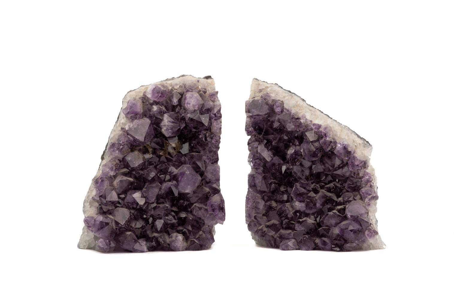 JIC Gem Amethyst Geode Bookends Agate Book Ends Natural Stone Decoration Gift Collection 6-8 LB Pair