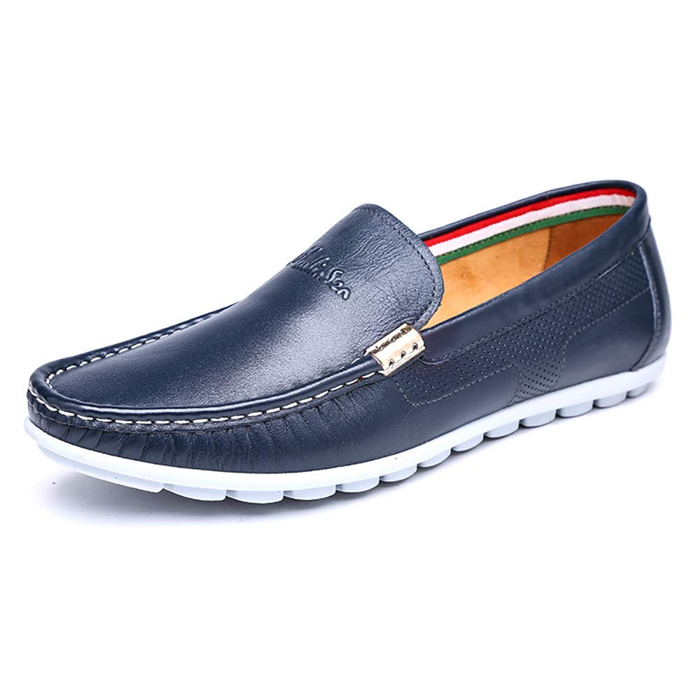 HhGold Männer Casual Slip on Lederschuhe, Kleid   Herren Bequeme Kleid Lederschuhe, Plain Toe Loafers für Männer (Farbe: Blau, Größe: 9,5 US / 8,5 UK) (Farbe : Braun, Größe : 9 US/8 UK) Blau 5c79c5