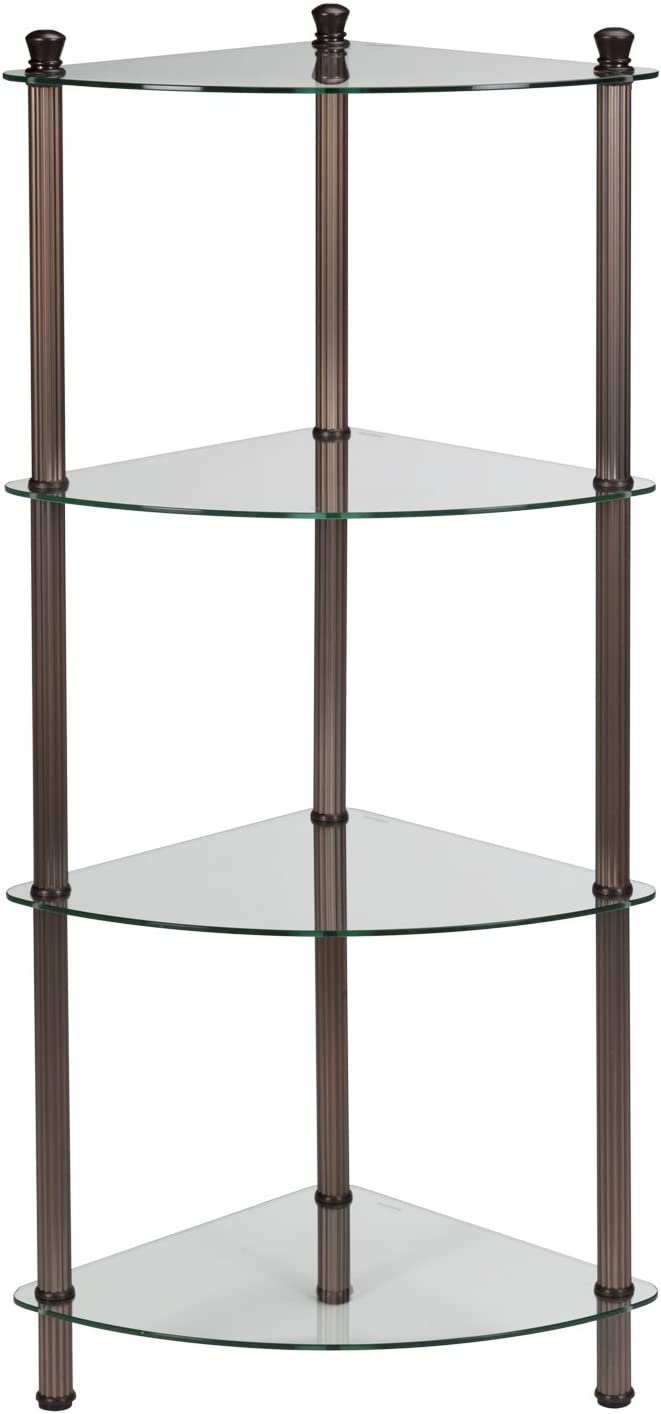 Creative Bath L'Etagere 4-Shelf Corner Tower, Oil-Rubbed Bronze Plate