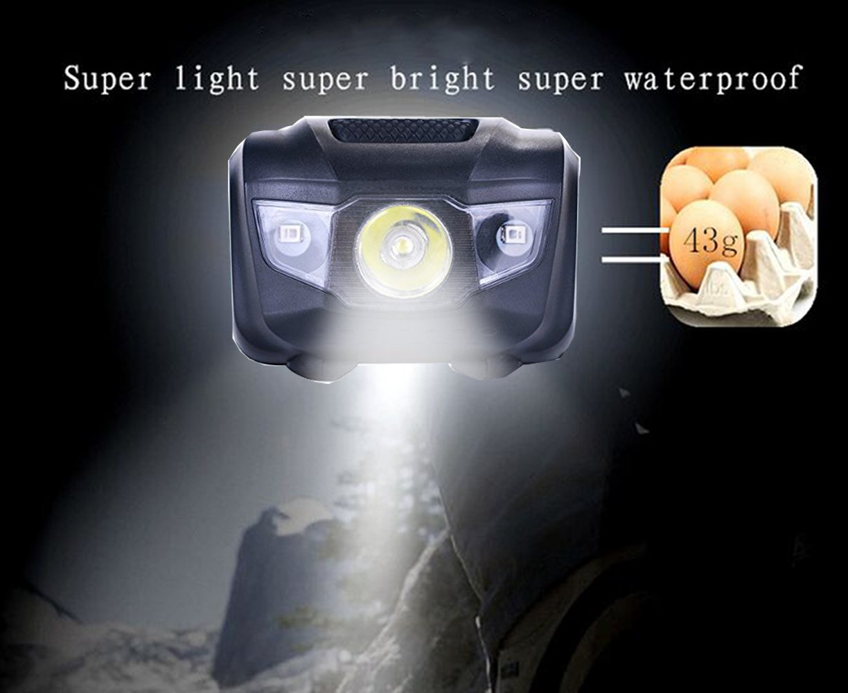 3-Pack Waterproof LED Headlamp (White and Red Lights), 4 Light Modes Lightweight Headlight for Running, Hiking, Hunting, Fishing, Camping by HappyOrange (Image #6)
