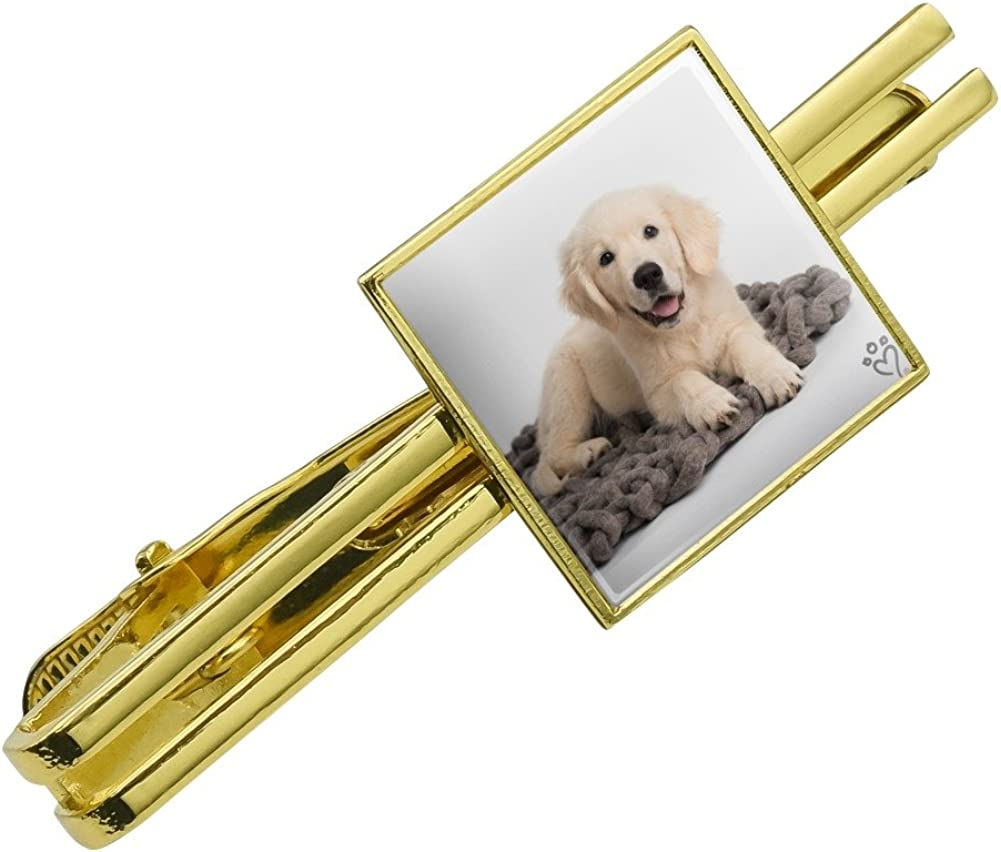 Graphics and More Golden Retriever Puppy Dog Knotty Blanket Square Tie Bar Clip Clasp Tack Silver or Gold