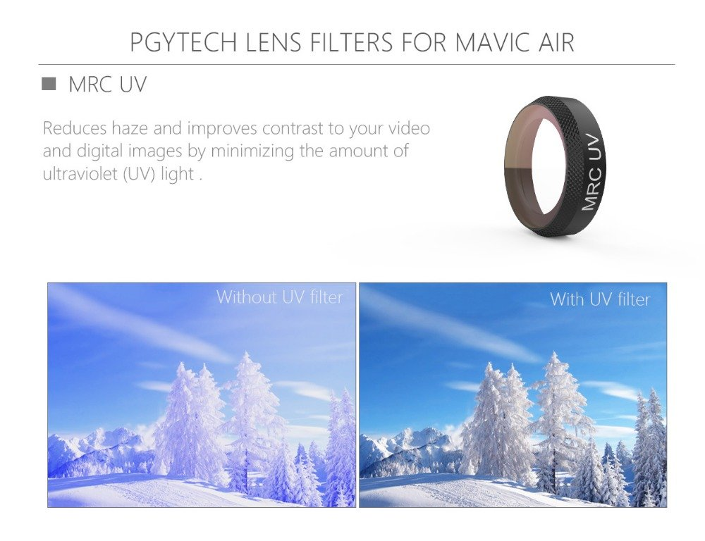 PGYTECH Mavic Air Filter UV/ND4/ND8/ND16/ND32/CPL Filter Kit Lens Filters for DJI Mavic Air RC Quadcopter Drone Accessories (UV) by PGYTECH