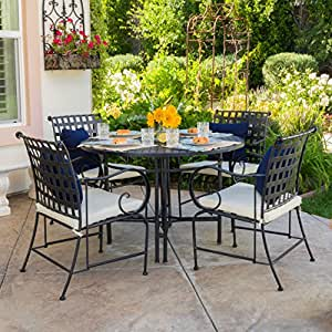 Bevin Outdoor 5-Piece Dining Set with Cushions