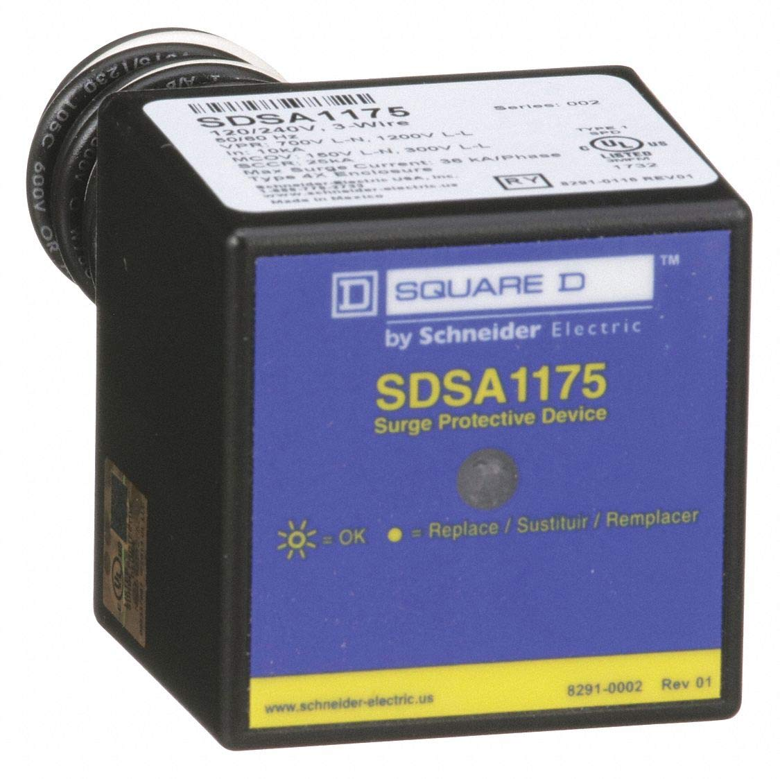 Square D 1 Phase Surge Protection Device, 120/240VAC