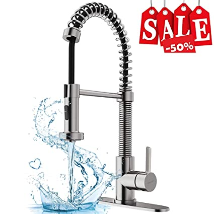 Surprising Kopais Stainless Steel Kitchen Faucet With Sprayer Quick Installation Commercial Single Handle High Arc Spring Brushed Nickel Sink Faucets Single Interior Design Ideas Clesiryabchikinfo