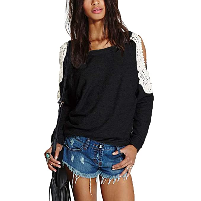 abd37da9f99 Fashion Spring Women Off Shoulder Long Sleeve Blouse Shirt Casual Sexy Lace  Crochet Pullover Tops Plus
