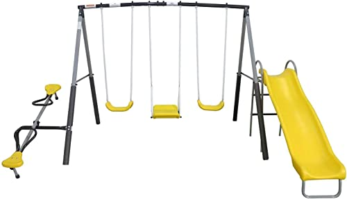 XDP Recreation Swingin Again Metal Kids Playground Swing Set w Slide See Saw