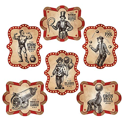 Fun Express - Vintage Circus Poster Cutouts for Party - Party Decor - Wall Decor - Cutouts - Party - 6 Pieces ()