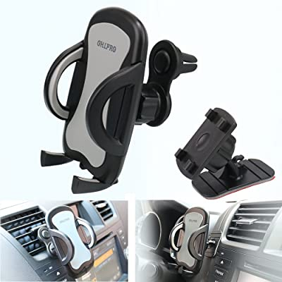 "Car Phone Mount,OHLPRO 2-in-1 Phone Holder Car Air Vent Universal Stick on Dash Dashboard Mount 360°Rotating Adjustable for iPhone Samsung Sony Google All 4""- 6.4"" Smartphones"