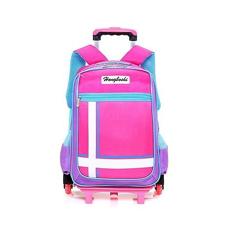 Mochila enrollable LouisaYork seis ruedas impermeable carrito mochila escolar rueda mochila de viaje para niños niños