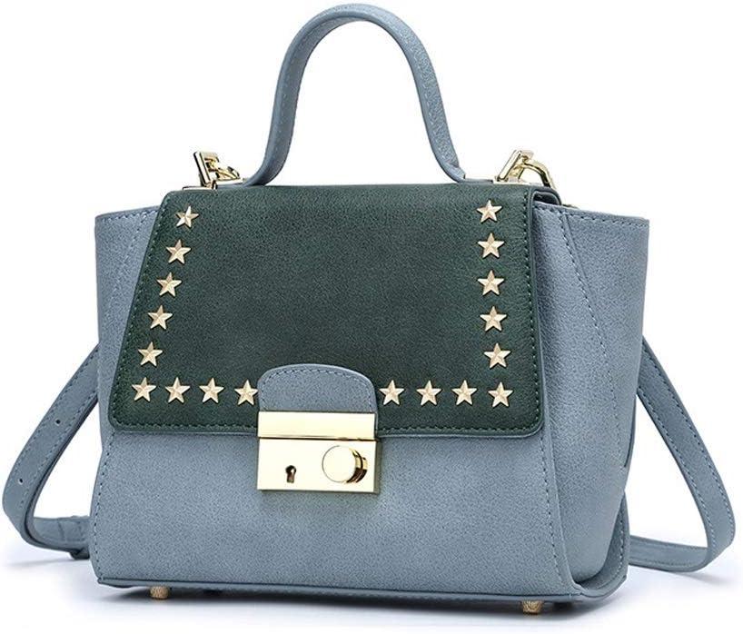 Color : Blue Amyannie Leisure Spring Rivet Wings Large-Capacity Matte Shoulder Messenger Portable Handbag
