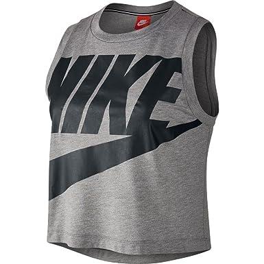 Nike W NSW Essntl Tank Crop Hbr Camiseta sin Mangas, Mujer, Negro ...