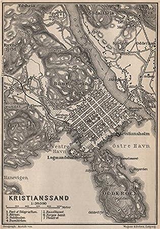 KRISTIANSAND Antique Town City Byplan Norway Kart BAEDEKER - Norway map amazon