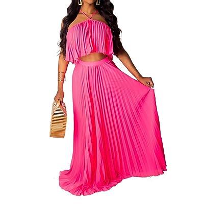 Aro Lora Women's Sexy Chiffon Sleeveless Ruffle Crop Top Pleated Long Skirt 2 Piece Maxi Dress at Amazon Women's Clothing store
