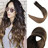 Full Shine 14' Tape in Hair Extensions Adhesive Double Sided Colorful Skin Weft Tape in Hair Extensions Ombre Balayage Hair Color #2 Fading to #8 50g 20 Pcs Per Package