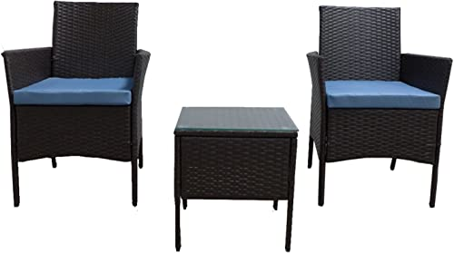 GOJOOASIS Rattan Patio Outdoor Armchairs PE Wicker Furniture 3 Piece Conversation Set Garden Table and Chair