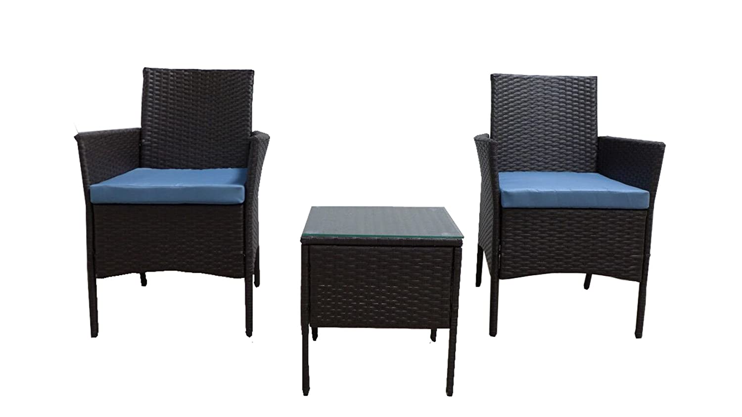 GOJOOASIS Rattan Patio Outdoor Armchairs PE Wicker Furniture 3 Piece Conversation Set Garden Table and Chairs with Blue Cushions, Brown