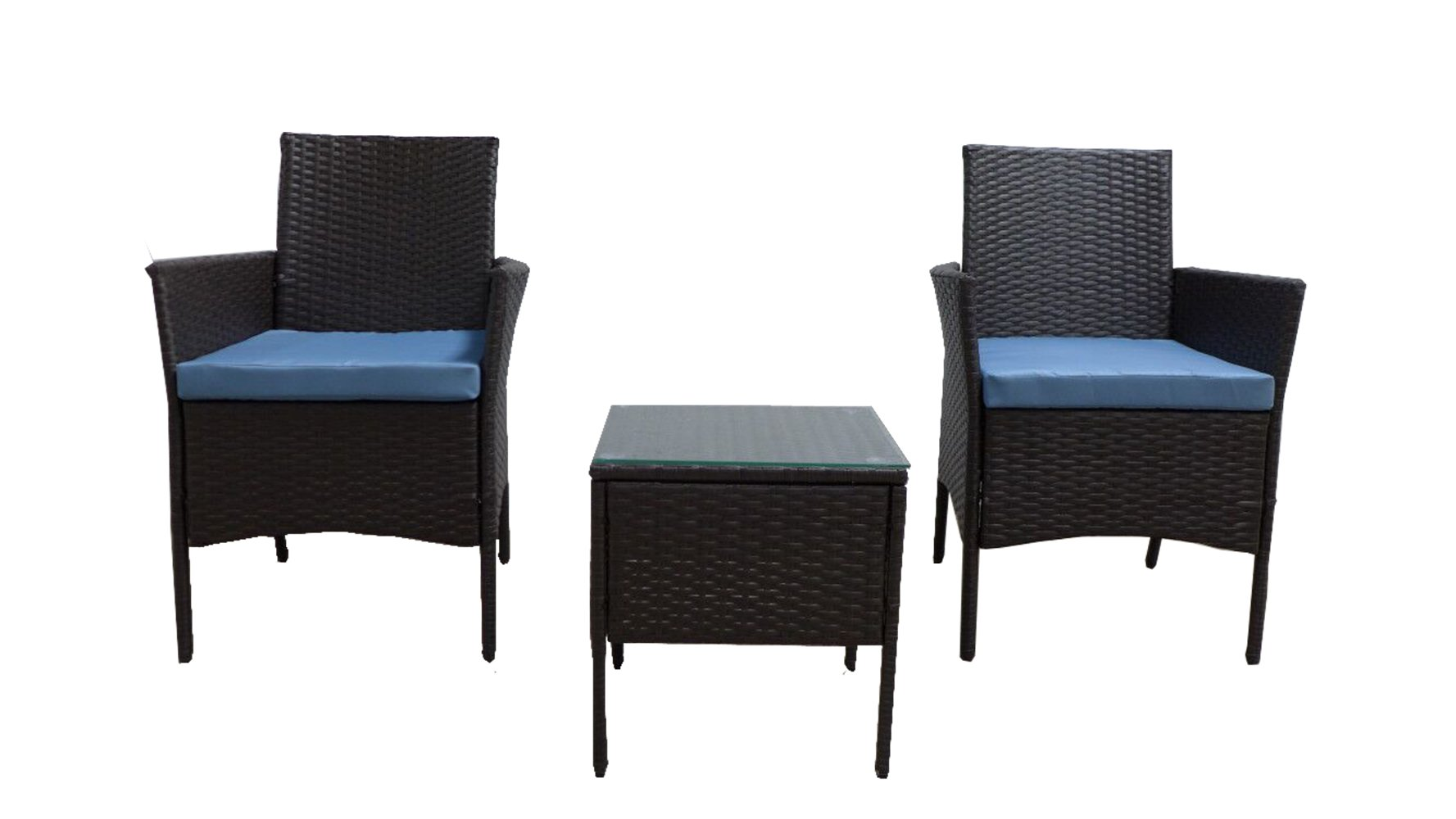 "GOJOOASIS Rattan Patio Outdoor Armchairs PE Wicker Furniture 3 Piece Conversation Set Garden Table and Chairs with Blue Cushions, Brown - 【3PCS CONVERSATION SET】Comes with 2 Armchair, 1 table with tempered glass top, 2 seat cushions, providing relaxation for up to 2 persons. 【RATTAN SECTIONAL DIMENSION】Overall size Armchair: 23.25""L x 17.75""W x 32.25""H; Coffee Table: 15.75""L x 15.75""W x 17""H; Max Load-bearing: 350 lbs for Sofa; 120 lbs for Coffee Table 【DURABLE OUTDOOR FURNITURE】This sectional is constructed from a rust-resistant steel frame and PE Rattan Wicker. Rattan is naturally more durable and long-lasting than traditional wicker making this piece more heat and weather resistant than similar wicker furniture. - patio-furniture, patio, conversation-sets - 61FXt vuYkL -"