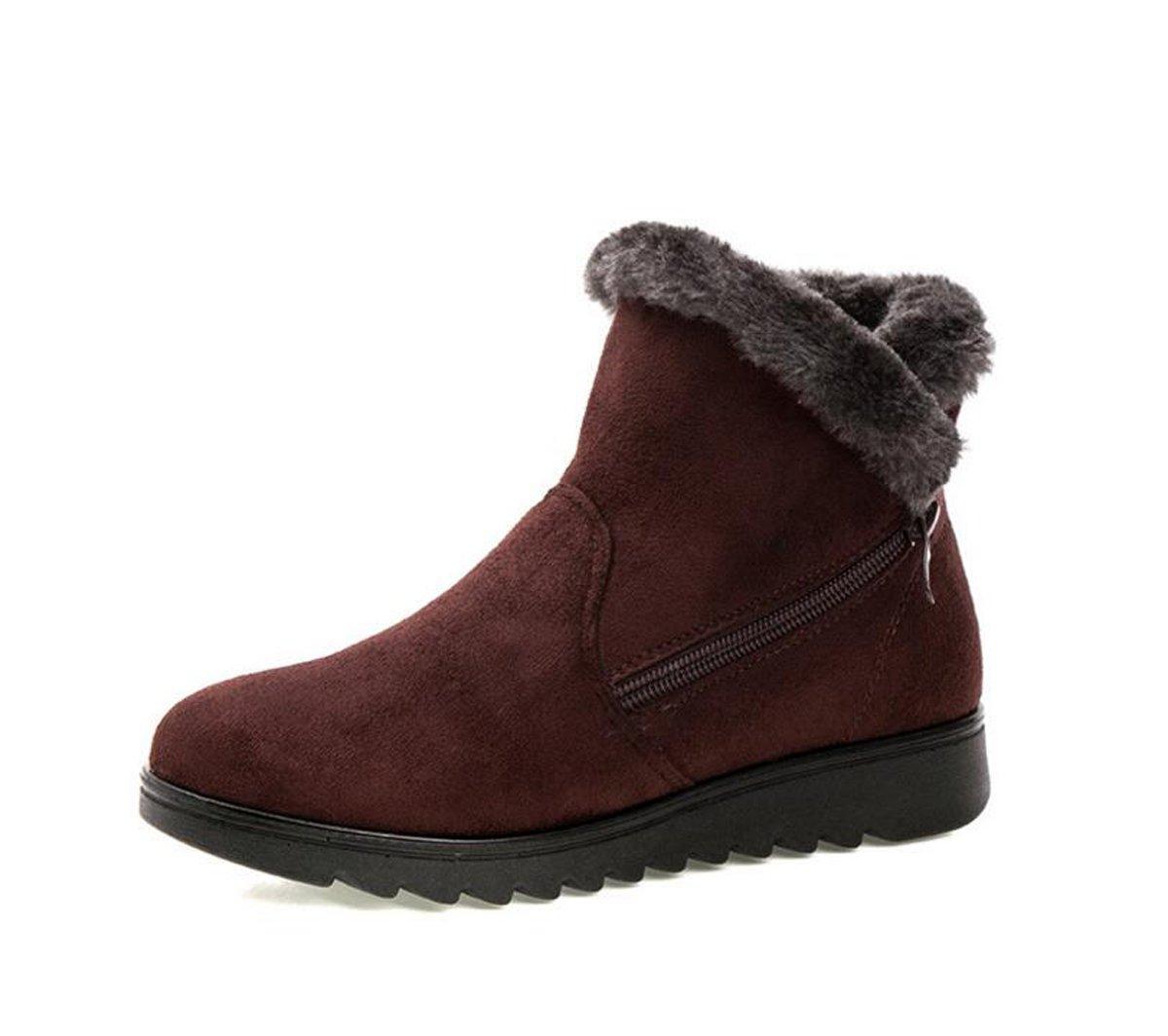 Dear Time Women Winter Warm Button Snow Boots (US 7.5, Brown Zipper)