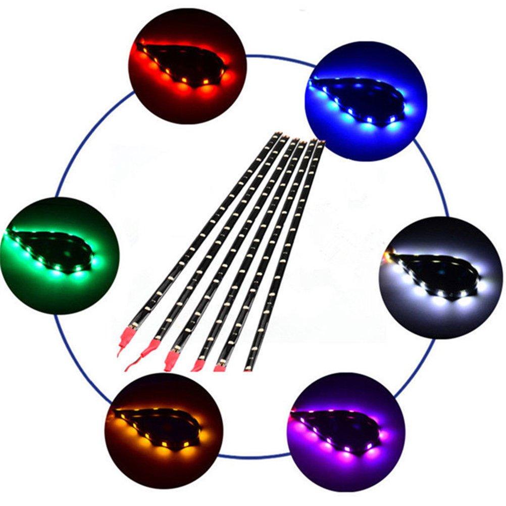 6PCS DC 12V Motorcycle LED Strip Waterproof Flexible Light Strip Cars LED Underbody Light For Car Motorbike (Blue) DemonTree