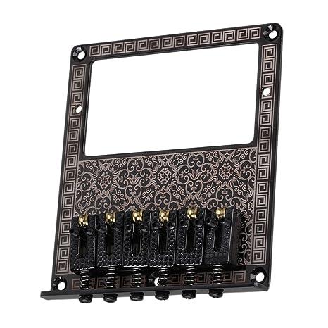 yibuy Negro Guitarra Eléctrica Humbucker Puente Rejilla cuadrada de sillín & patrón de flores