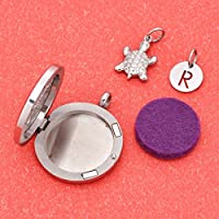 Personalized Letter Essential Oil Diffuser Necklace Lovely Cat Locket Pendant Jewelry