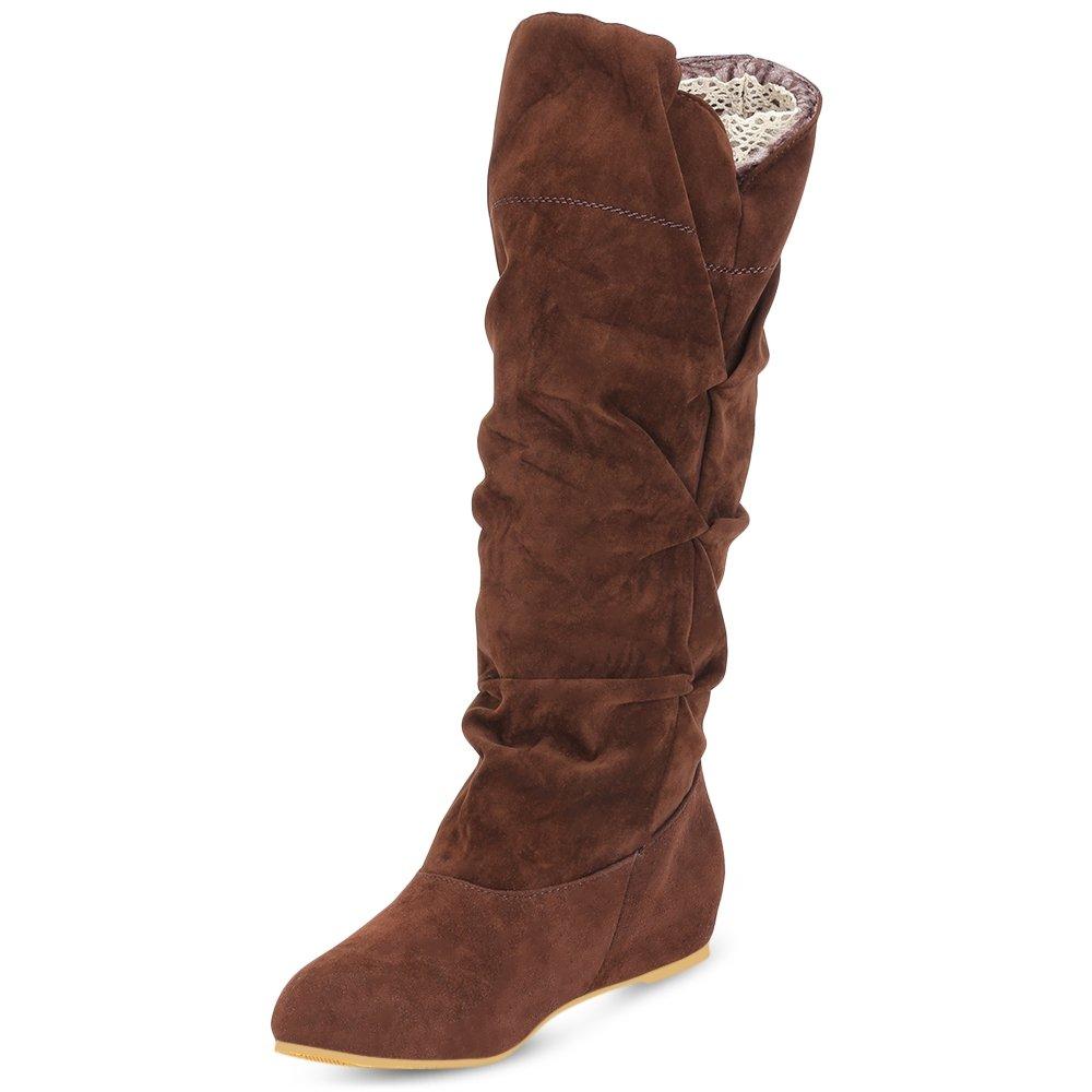 Lieyliso damen Casual Mitte der Wade Stiefel Retro Nop-Slip Winter Warm Wildleder Vamp Flache Ferse Schuhe (Farbe   braun Größe   42)