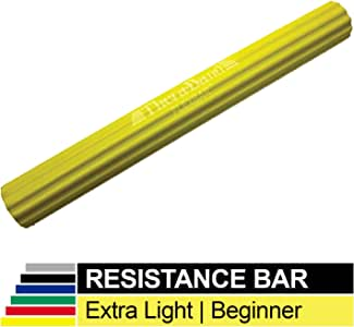 TheraBand FlexBar, Tennis Elbow Therapy Bar, Relieve Tendonitis Pain & Improve Grip Strength, Resistance Bar for Golfers Elbow & Tendonitis, Yellow, Extra Light, Beginner,12-Inch