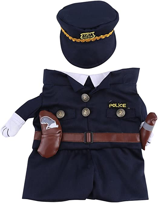 Pet Dog Cat Policeman Show Party Halloween Fancy Dress Costume Outfit Clothes