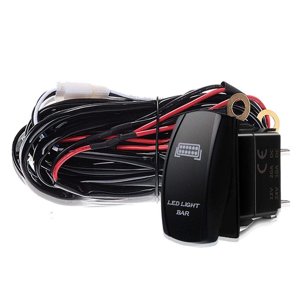 amazon com t former 3 lead led light bar wiring harness kit fuse rh amzn com